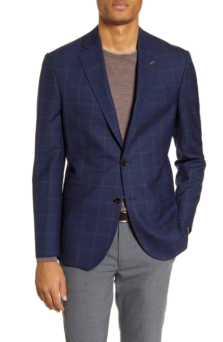 TED BAKER LONDON Jay Trim Fit Windowpane Wool Sport Coat, Main, color, BLUE