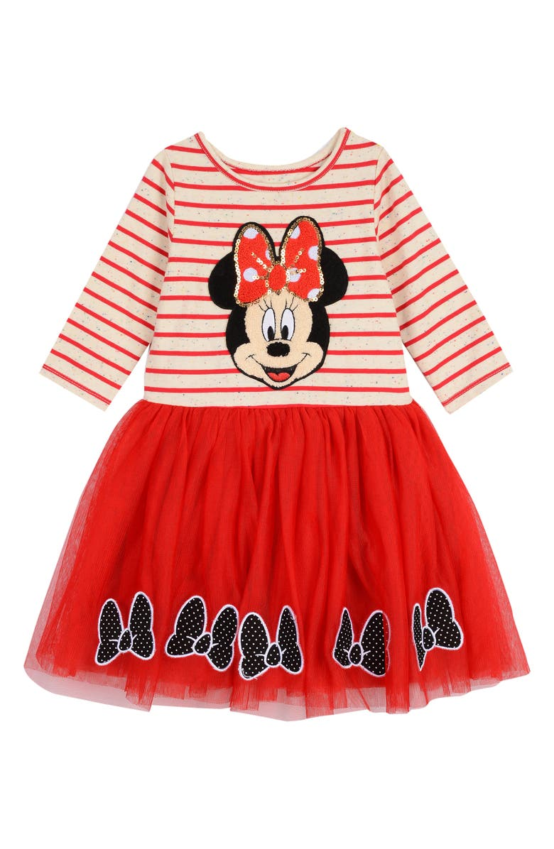 PIPPA & JULIE x Disney Minnie Long Sleeve Two-Tier Tutu Dress, Main, color, IVORY/ RED