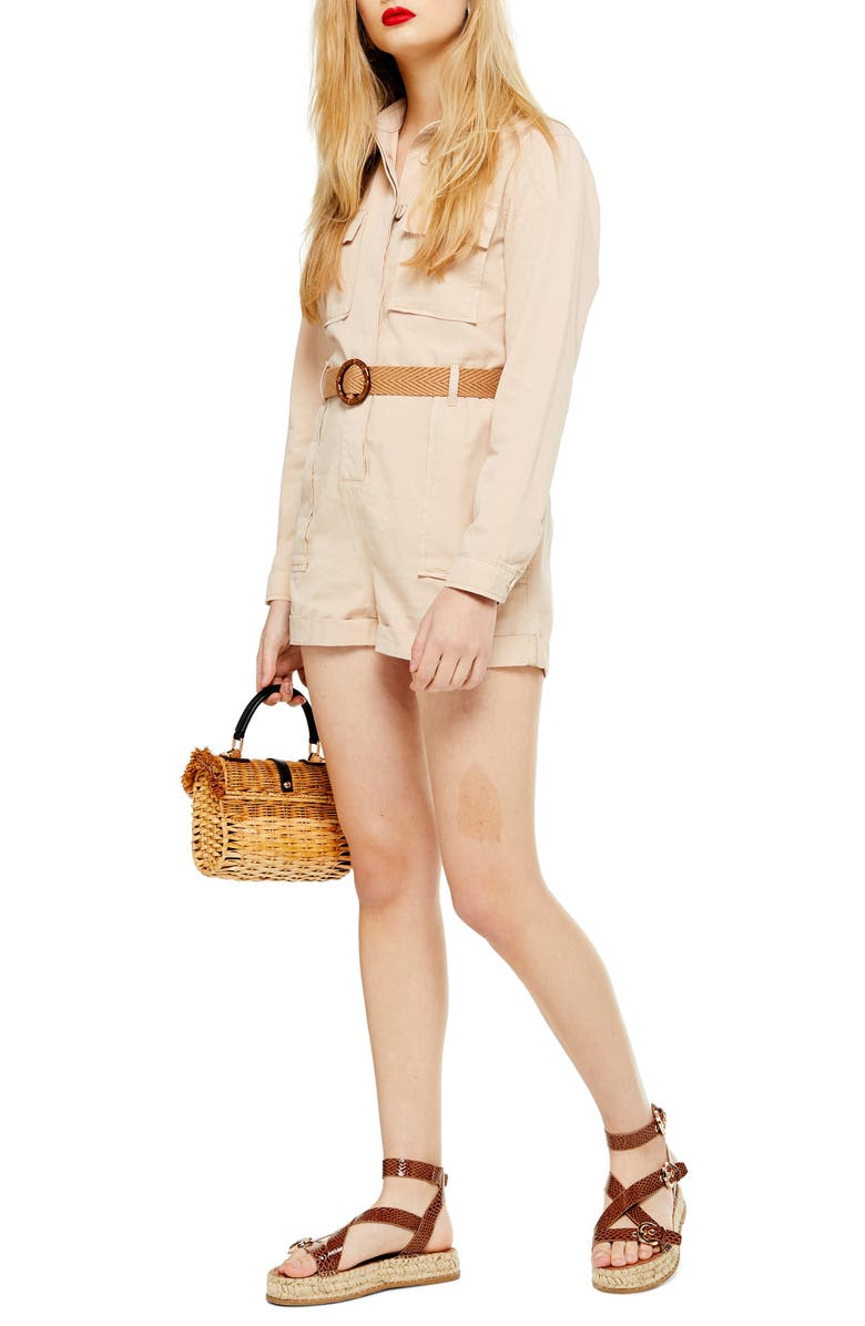 TOPSHOP Belted Utility Romper, Main, color, CREAM