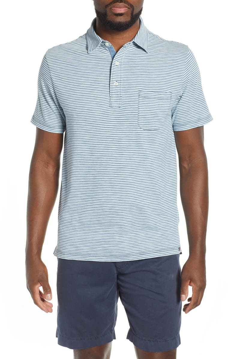FAHERTY Stripe Polo, Main, color, TEAL IND WHITE STRIPE