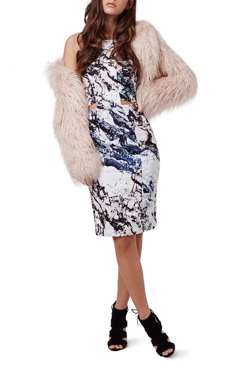 TOPSHOP KENDALL + KYLIE at Topshop Print Cutout Sleeveless Dress, Main, color, 001