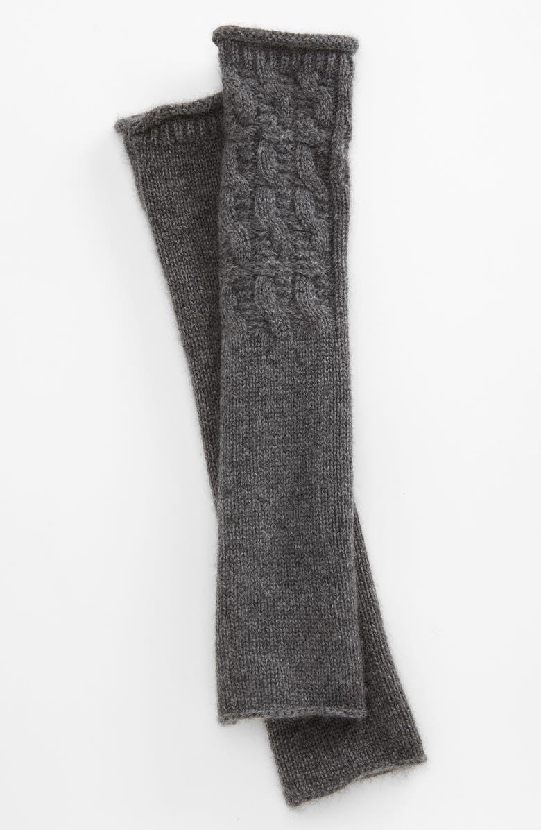 NORDSTROM Textured Fingerless Cashmere Gloves, Main, color, 021