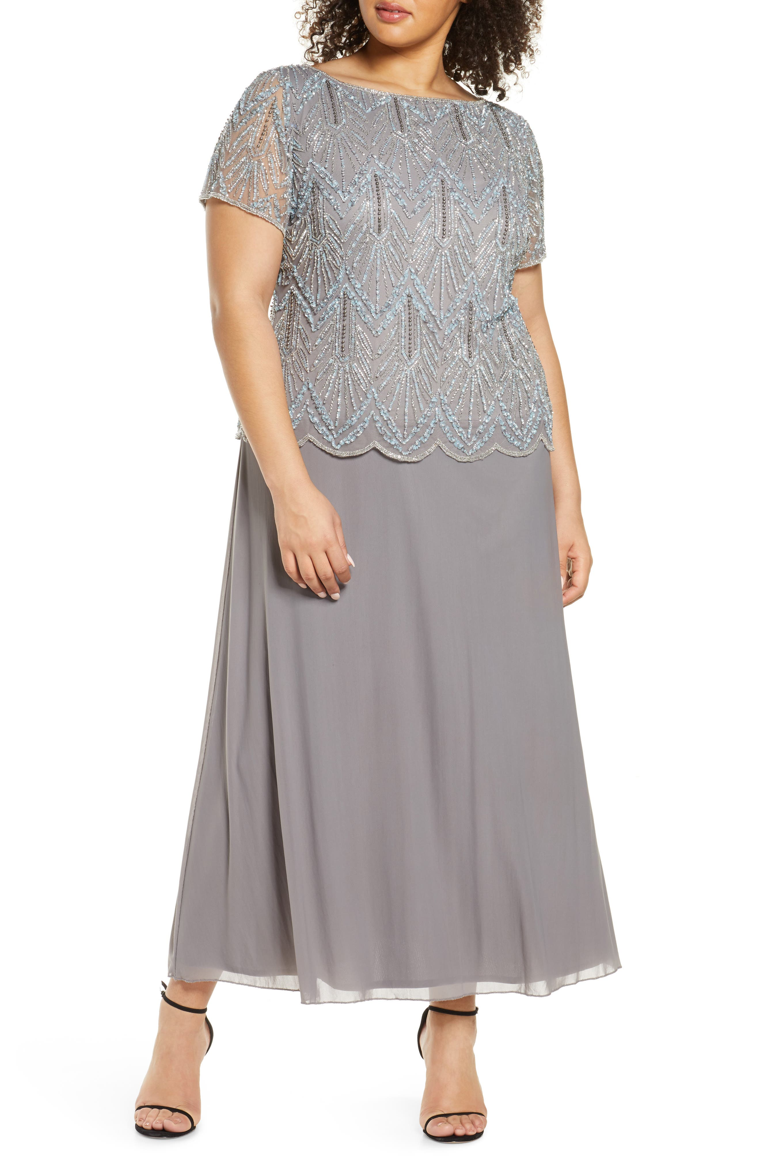1920s Plus Size Flapper Dresses, Gatsby Dresses, Flapper Costumes Plus Size Womens Pisarro Nights Mock Two-Piece Beaded Bodice Evening Dress $142.80 AT vintagedancer.com