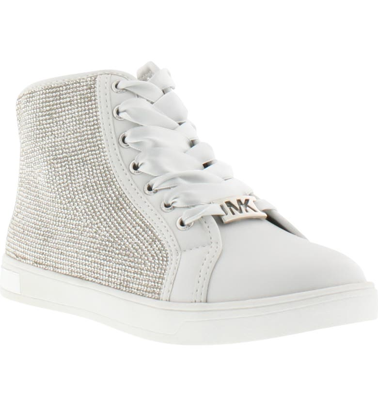 MICHAEL MICHAEL KORS Ollie Light Crystal High Top Sneaker, Main, color, WHITE