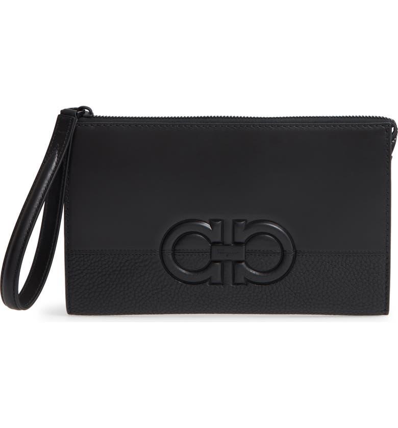 SALVATORE FERRAGAMO Firenze Calfskin Leather Document Case, Main, color, BLACK / BLACK