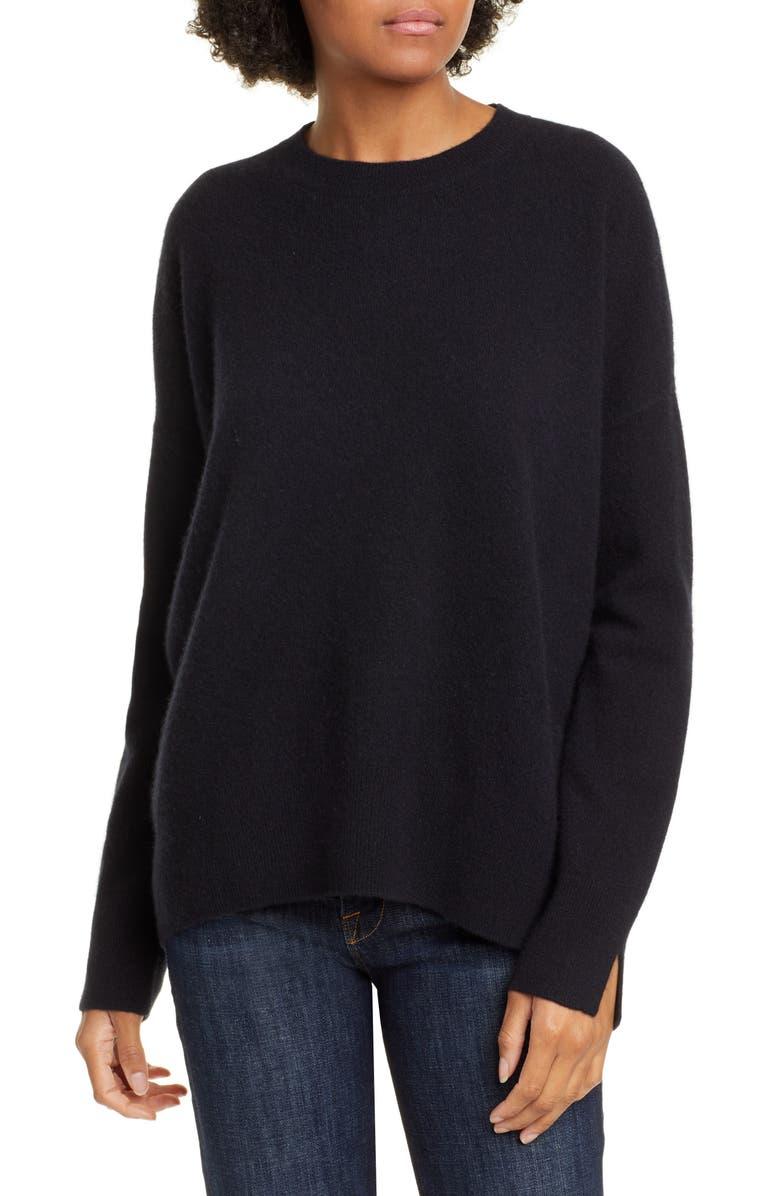 NORDSTROM SIGNATURE Nordstrom Cashmere Crewneck Pullover, Main, color, BLACK