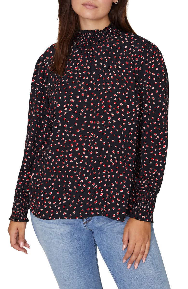 SANCTUARY Carrie Print Smock Detail Blouse, Main, color, RED PARTY POP