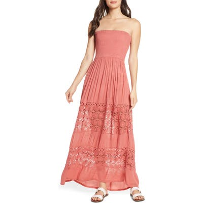 Chelsea28 Farrah Smocked Cover-Up Maxi Dress, Pink