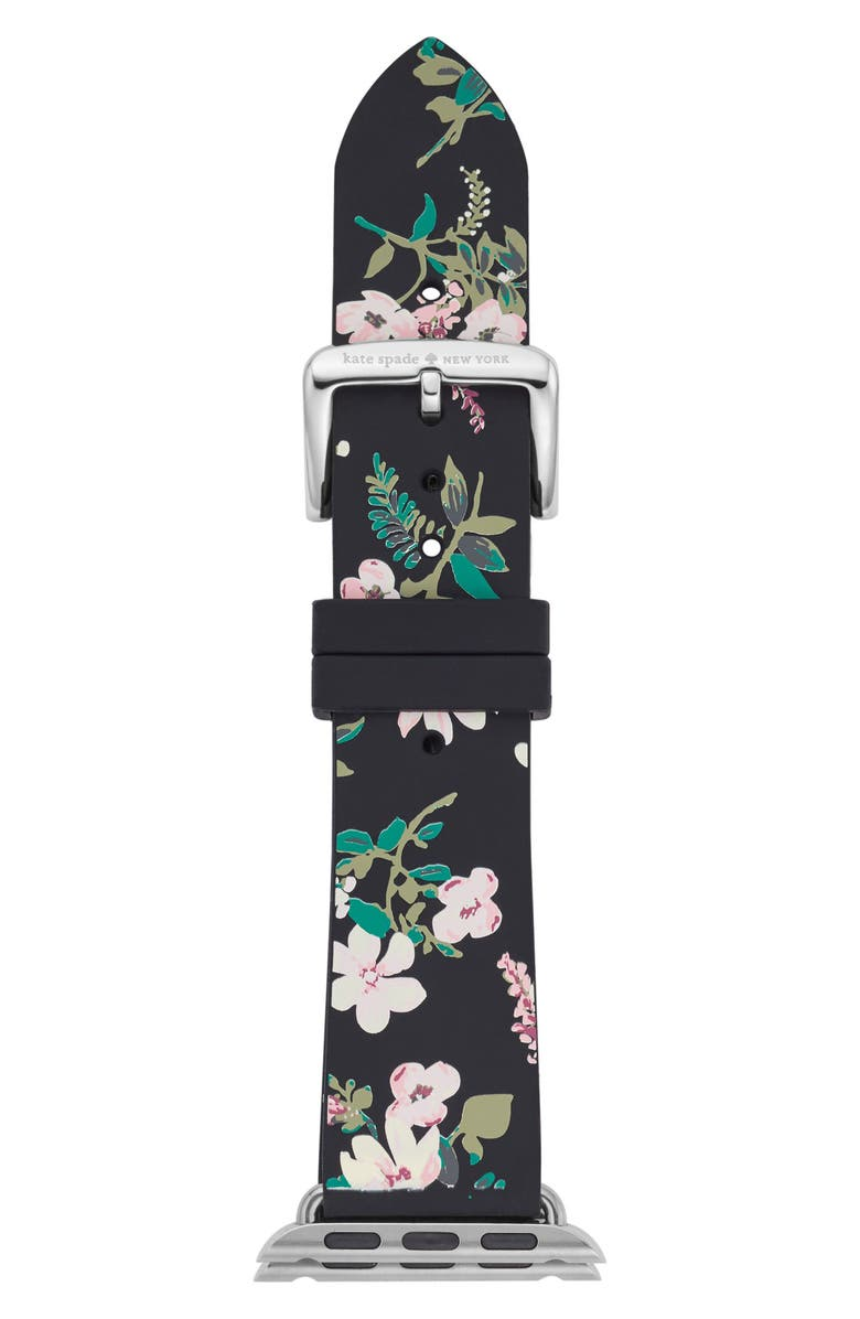 KATE SPADE NEW YORK Apple Watch<sup>®</sup> strap, 38mm, Main, color, BLACK/ GREEN/ PINK
