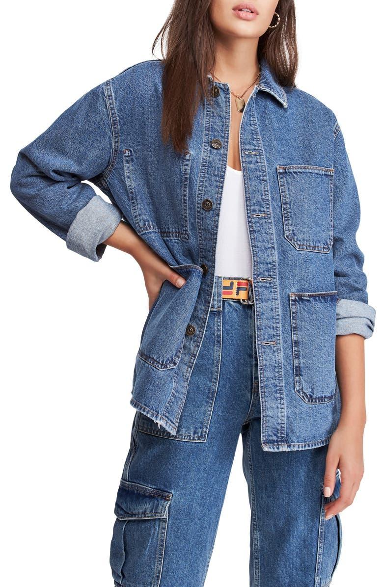 BDG URBAN OUTFITTERS Longline Denim Jacket, Main, color, BLUE