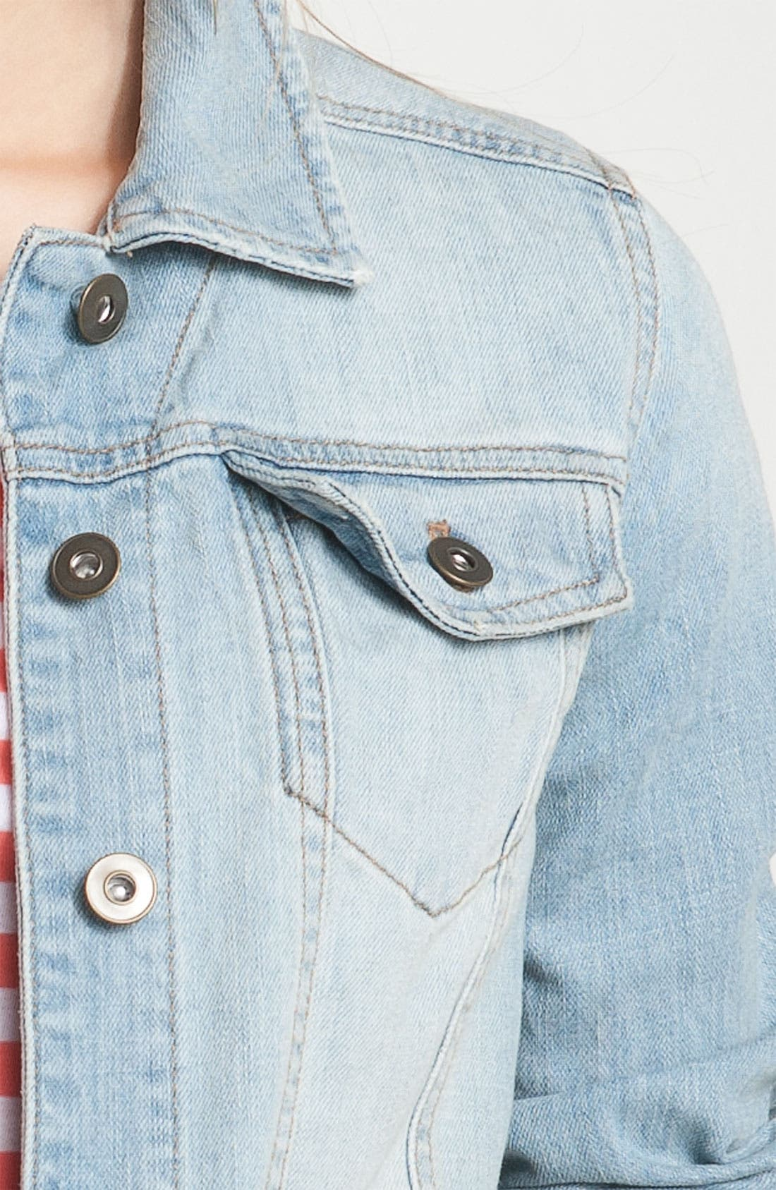 ,                             Basic Denim Jacket,                             Alternate thumbnail 6, color,                             401