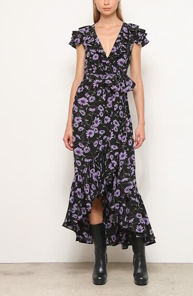 Michael Kors Floral Print Ruffle Wrap Dress, video thumbnail