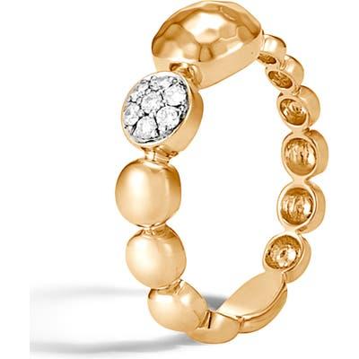John Hardy Dot Hammered 18K Gold & Diamond Pave Ring