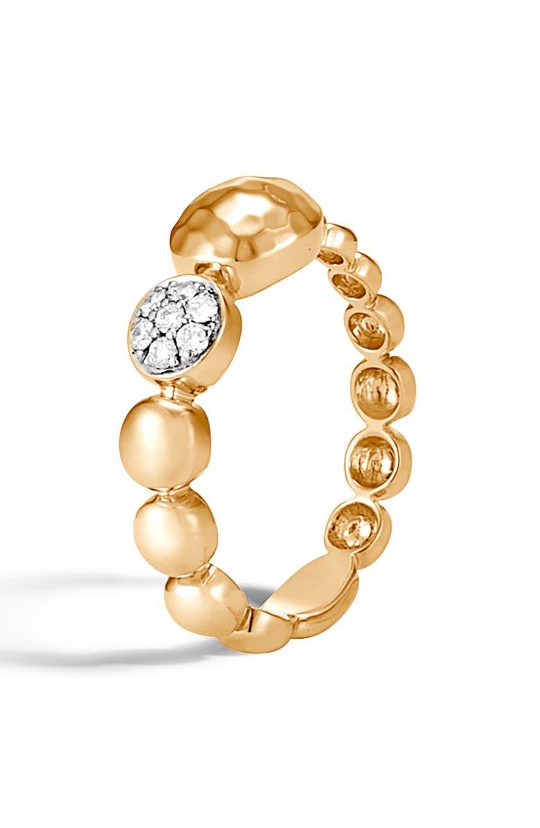 JOHN HARDY Dot Hammered 18K Gold & Diamond Pavé Ring, Main, color, GOLD/ DIAMOND