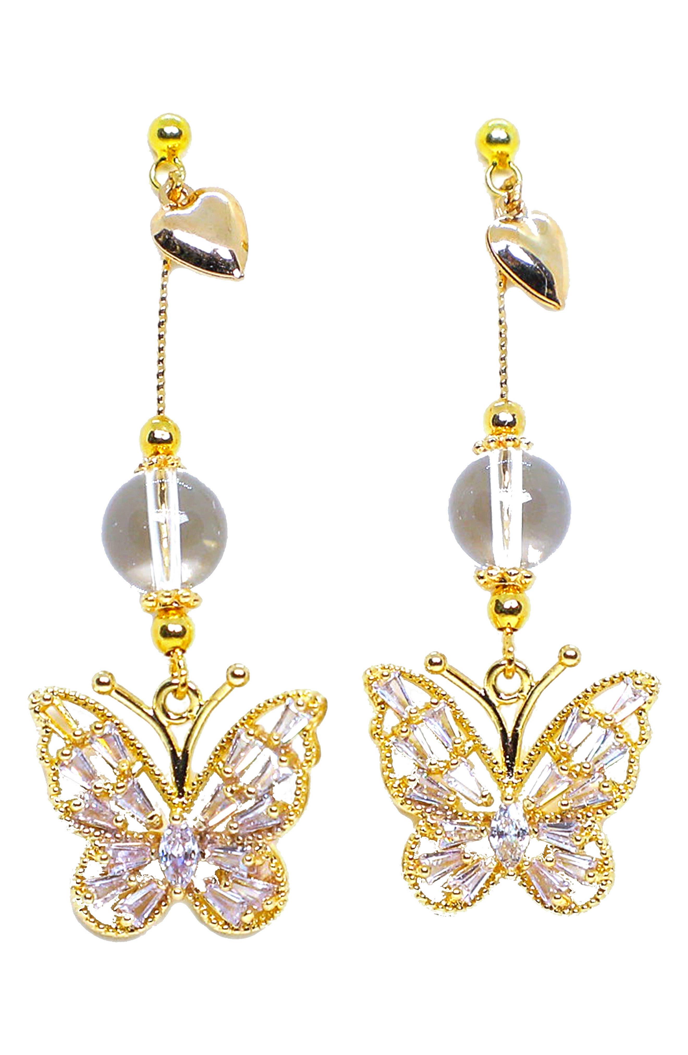 Valentine Butterfly Drop Earrings