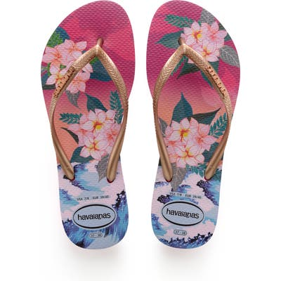Havaianas Slim Tropical Sunset Flip Flop, /36 BR - Pink