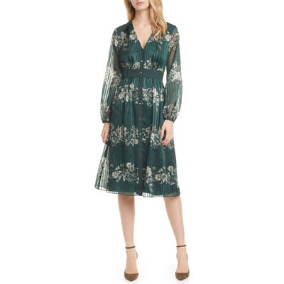 Ted Baker London Delyla Meadow Sweep Long Sleeve Dress, (fits like 00 US) - Green