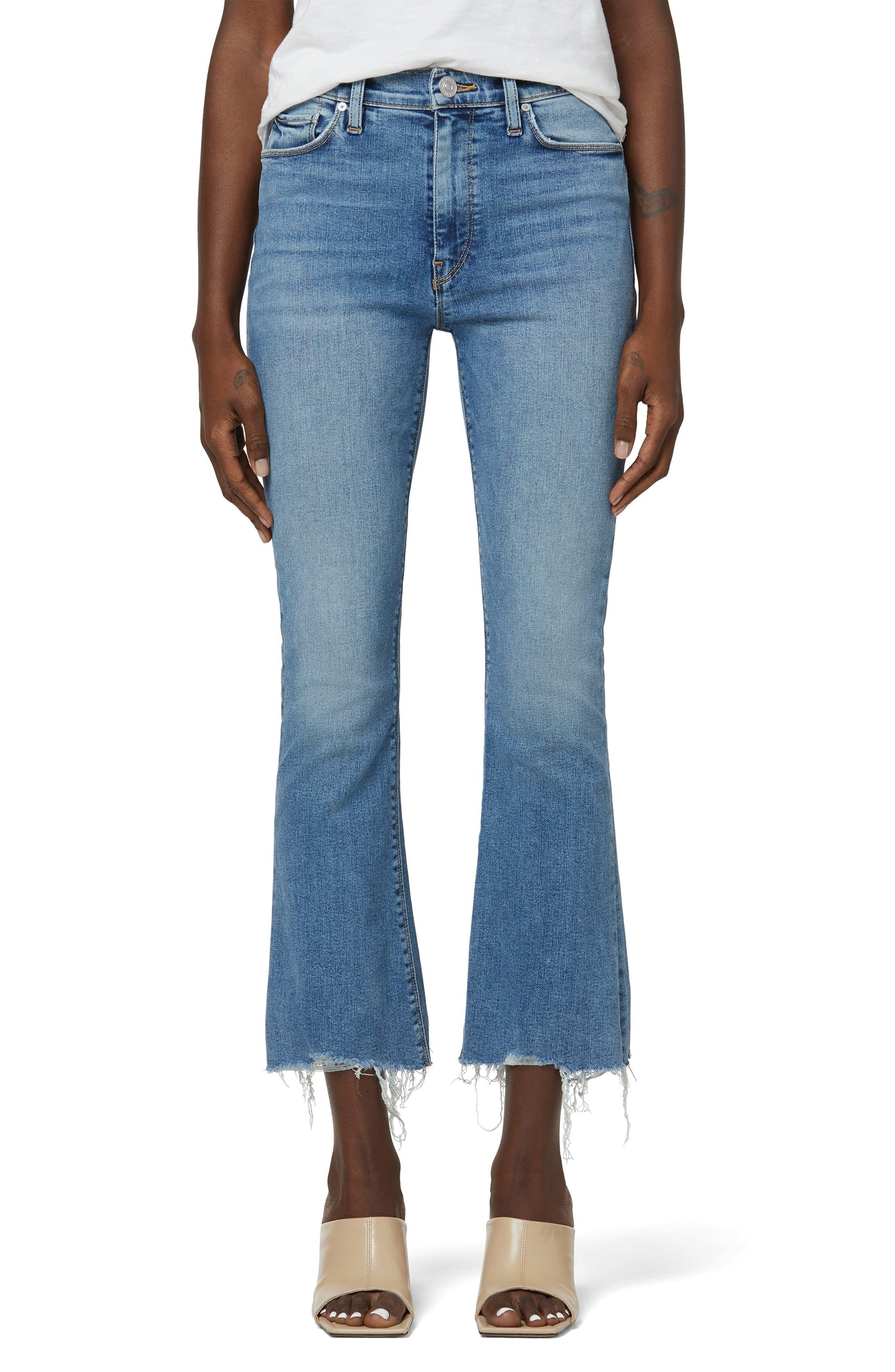 Barbara High Waist Ripped Hem Crop Bootcut Jeans