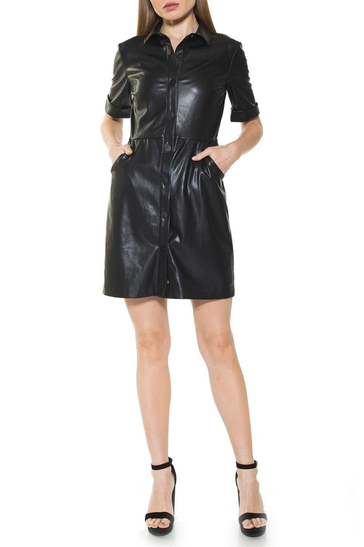 Image of Alexia Admor Janine Faux Leather Short Sleeve Dress