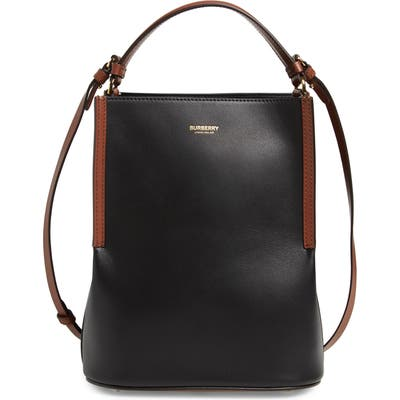 Burberry Small Peggy Bicolor Leather Bucket Bag - Black