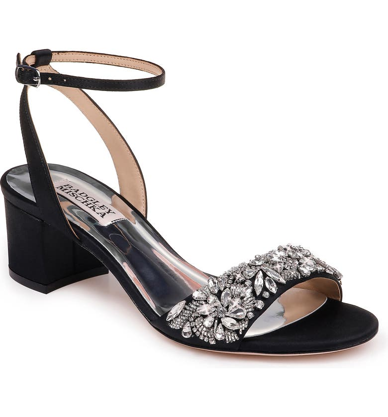 BADGLEY MISCHKA COLLECTION Badgley Mischka Ivanna Ankle Strap Sandal, Main, color, BLACK SATIN