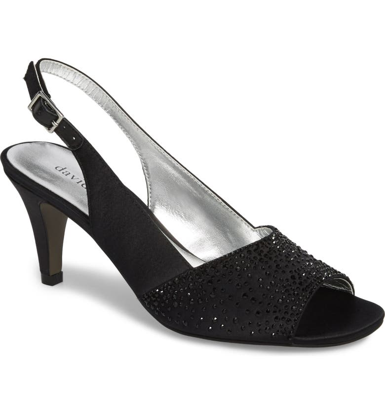 DAVID TATE Stunning Slingback Pump, Main, color, BLACK SATIN
