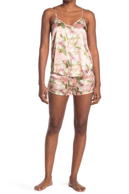 Image of COZY ROZY Tropical Dreams Floral Satin Camisole & Shorts 2-Piece Pajama Set