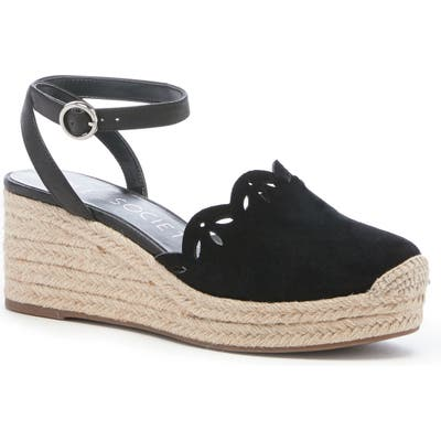 Sole Society Calysa Ankle Strap Espadrille Wedge, Black
