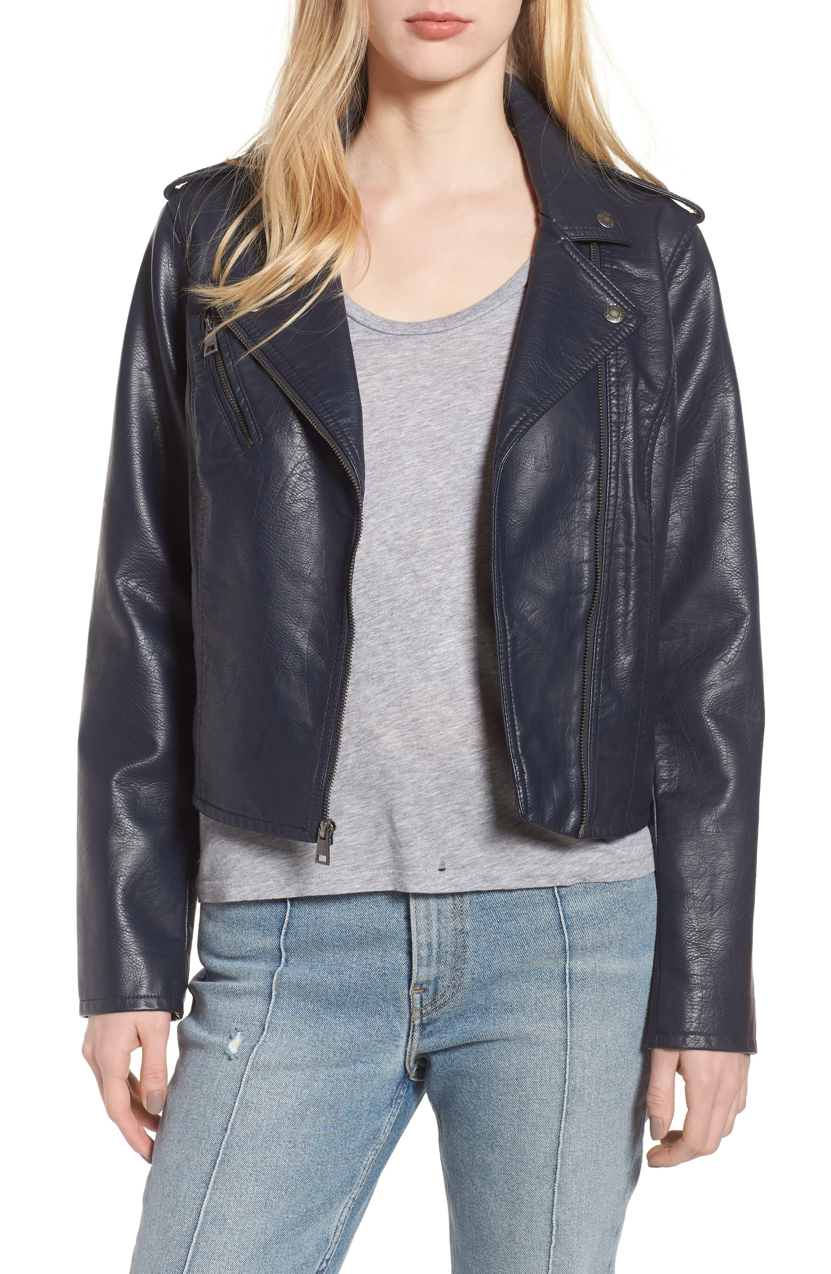 ,                             Faux Leather Moto Jacket,                             Main thumbnail 8, color,                             410