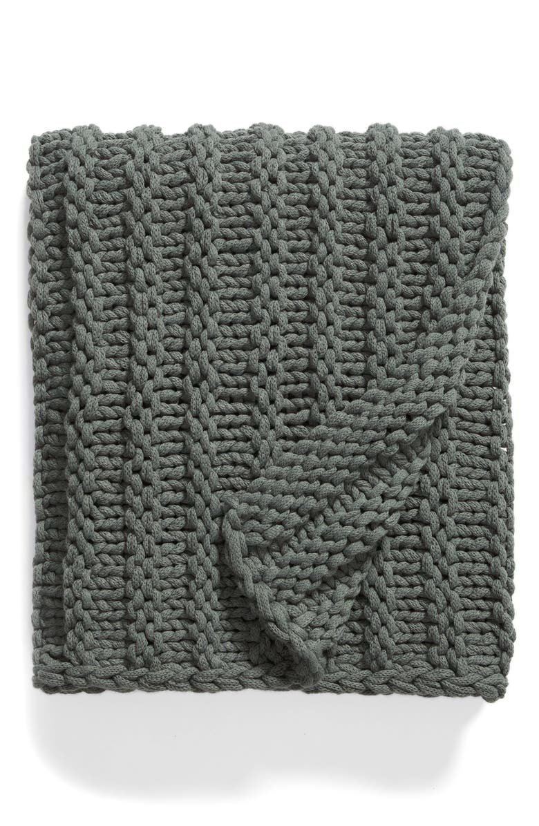TREASURE & BOND Jersey Rope Chunky Knit Throw Blanket, Main, color, GREEN BALSAM