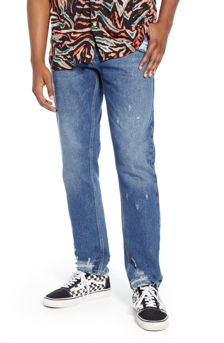 TOPMAN Chi Damage Tapered Skinny Jeans, Main, color, BLUE