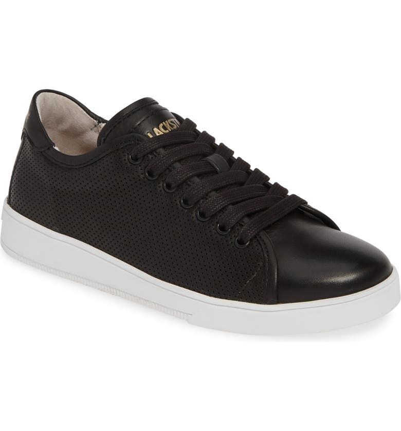 BLACKSTONE RL72 Perforated Low Top Sneaker, Main, color, BLACK LEATHER