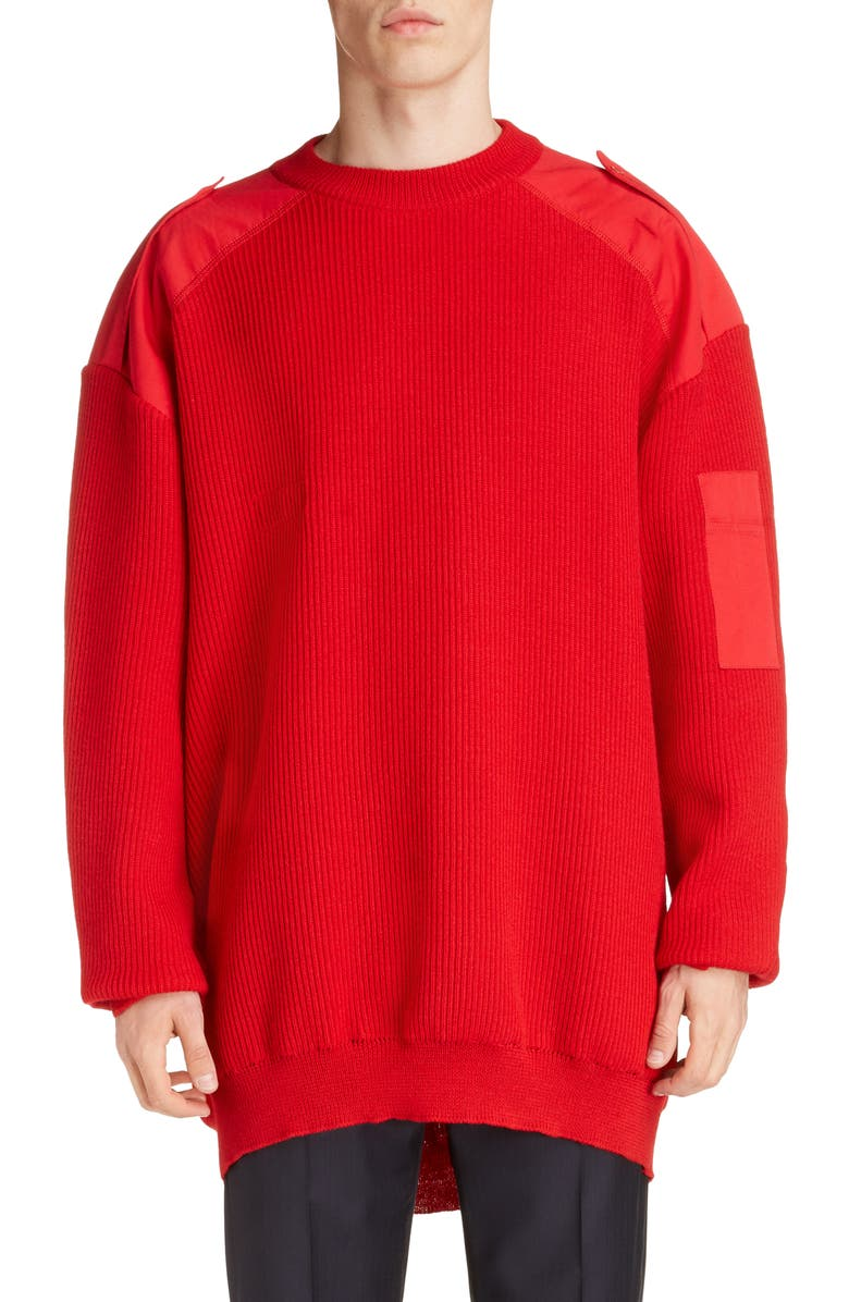 BALENCIAGA Oversize Crewneck Wool & Cotton Sweater, Main, color, RED