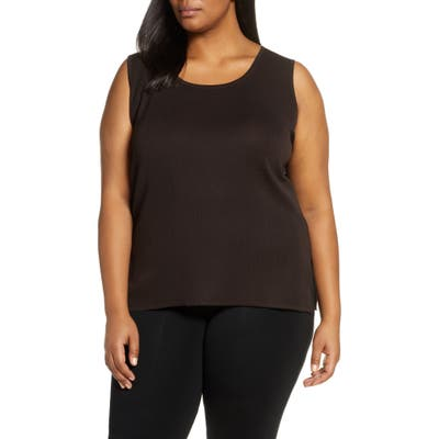Plus Size Ming Wang Knit Tank, Brown