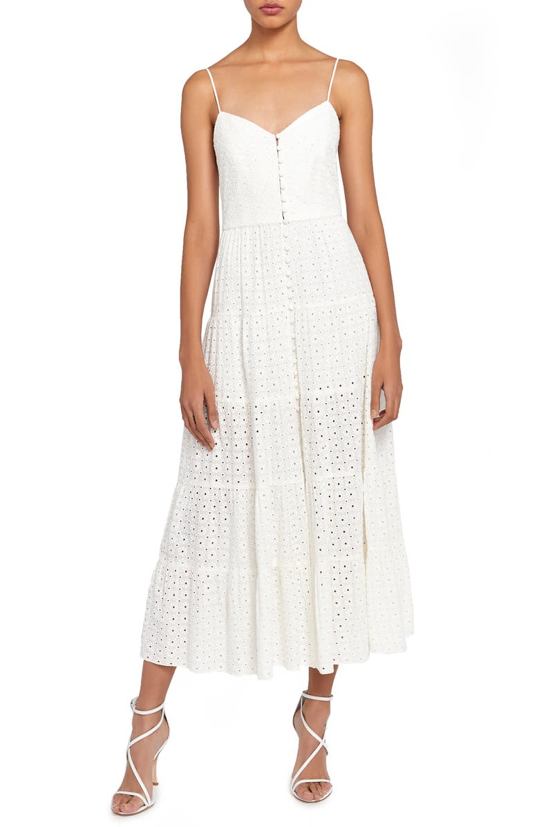 ALICE + OLIVIA Shanti Eyelet Midi Sundress, Main, color, 900