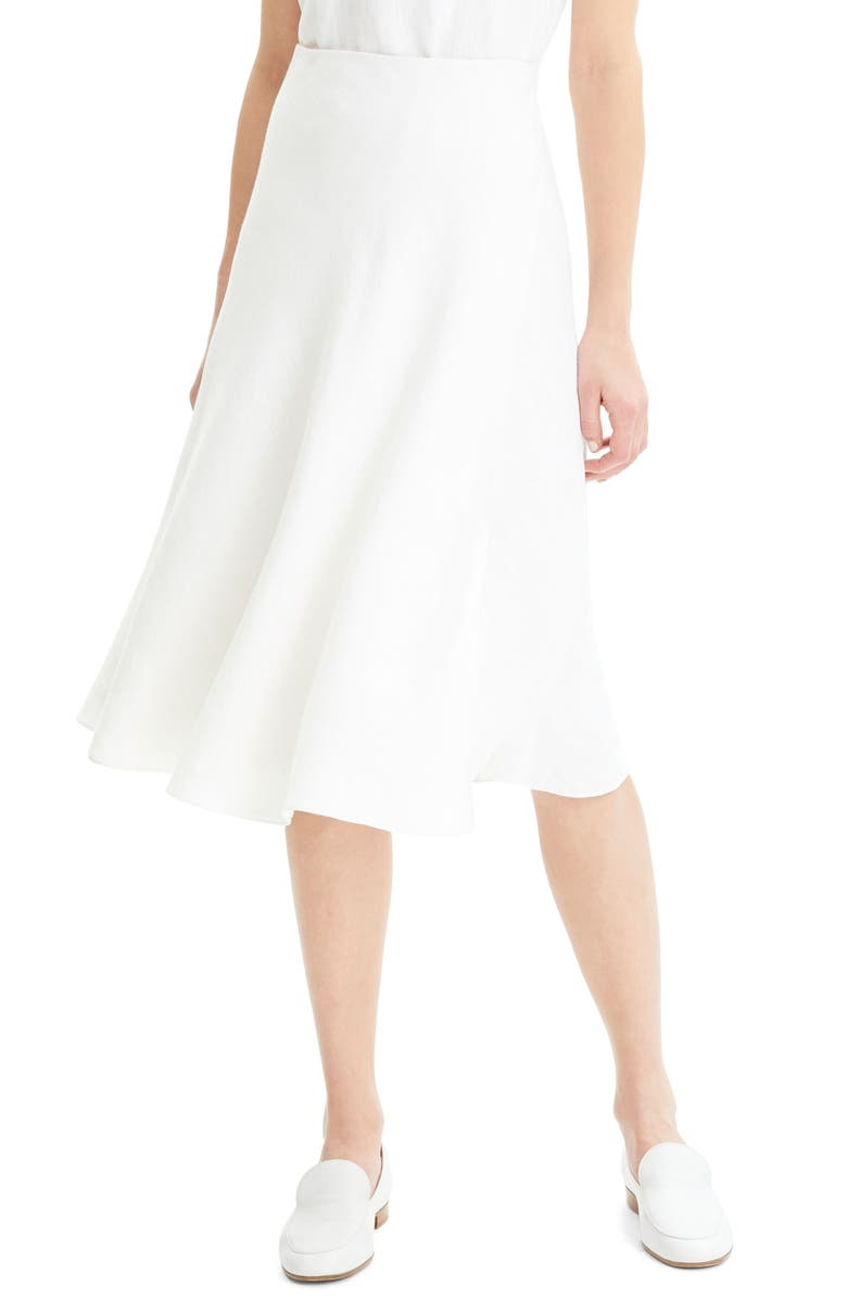 THEORY Wrap Front Linen Blend Skirt, Main, color, WHITE