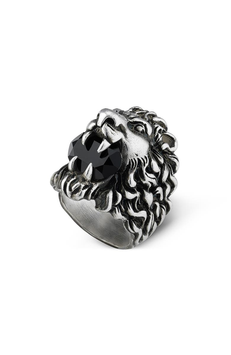 GUCCI Lion Head Aureco Crystal Ring, Main, color, 040