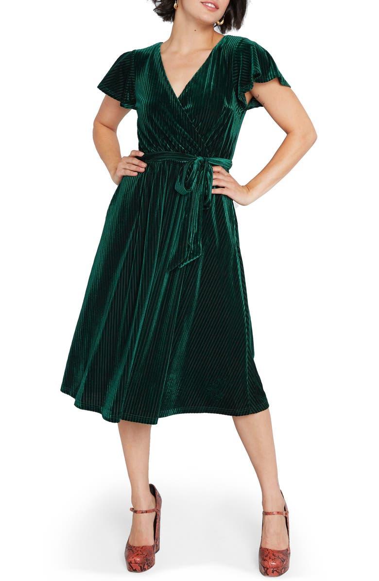 MODCLOTH Faux Wrap Velvet Dress, Main, color, EMERALD GREEN