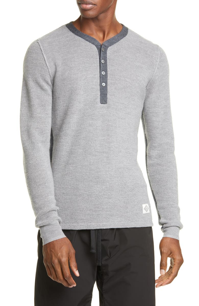 OVADIA & SONS Zach Henley Thermal Stitch Wool Sweater, Main, color, GREY/ HEATHER