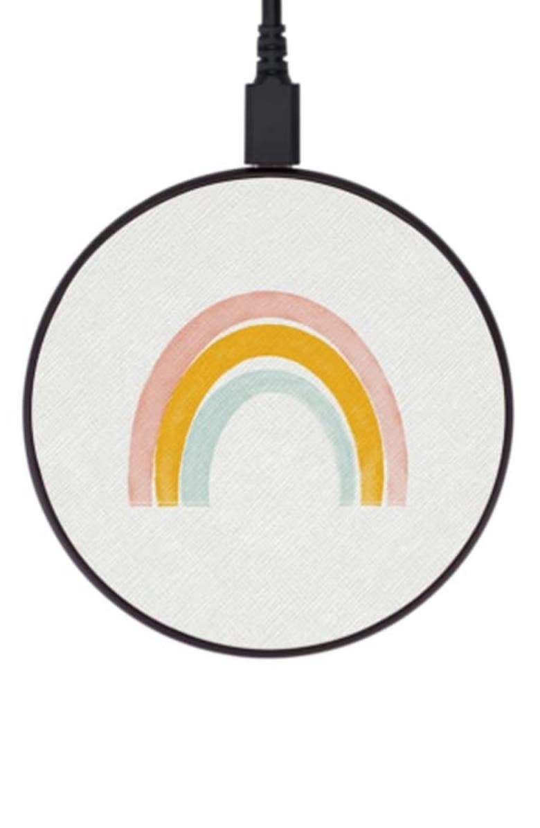 CASETIFY Rainbow Wireless Charging Pad, Main, color, WHITE/YELLOW/PINK