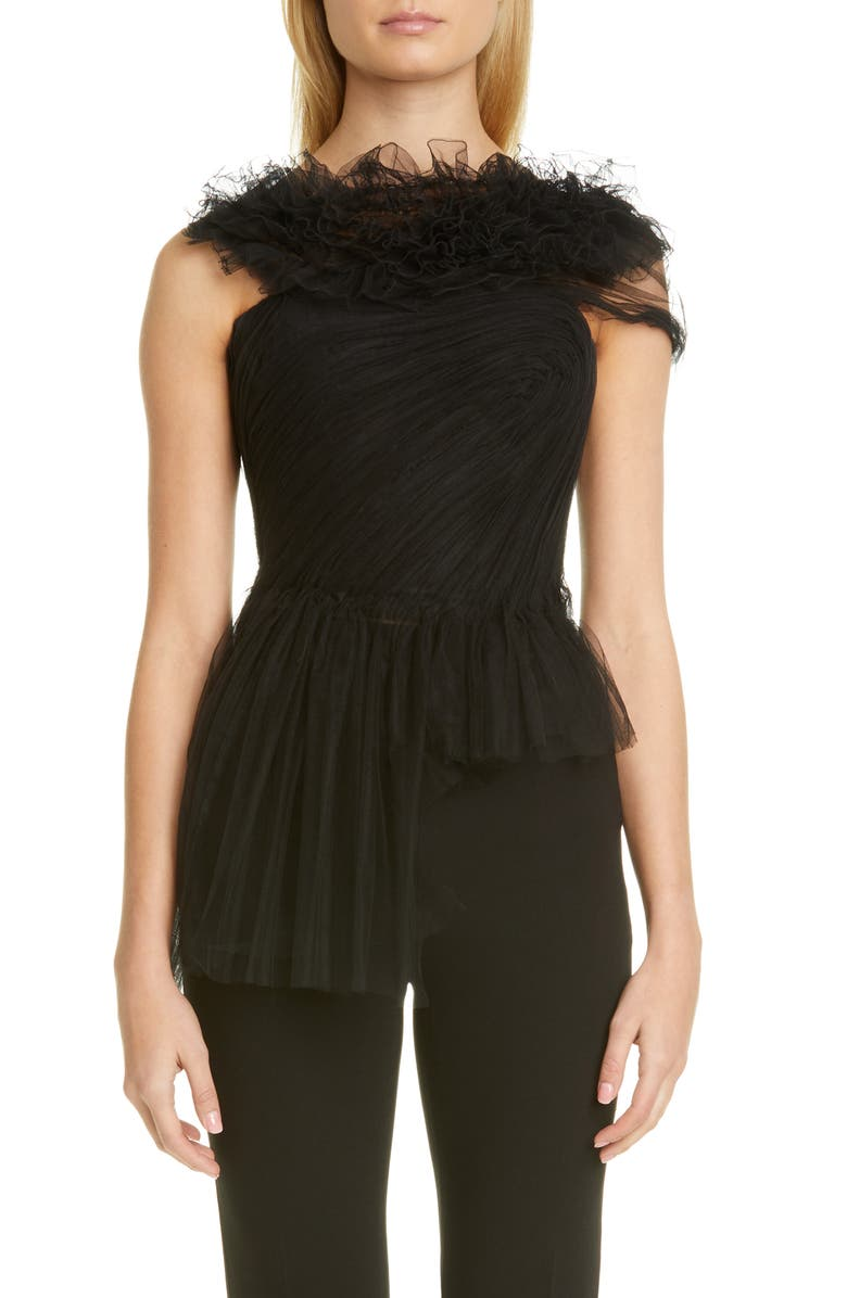 JASON WU COLLECTION Illusion Tulle Bustier Top, Main, color, BLACK