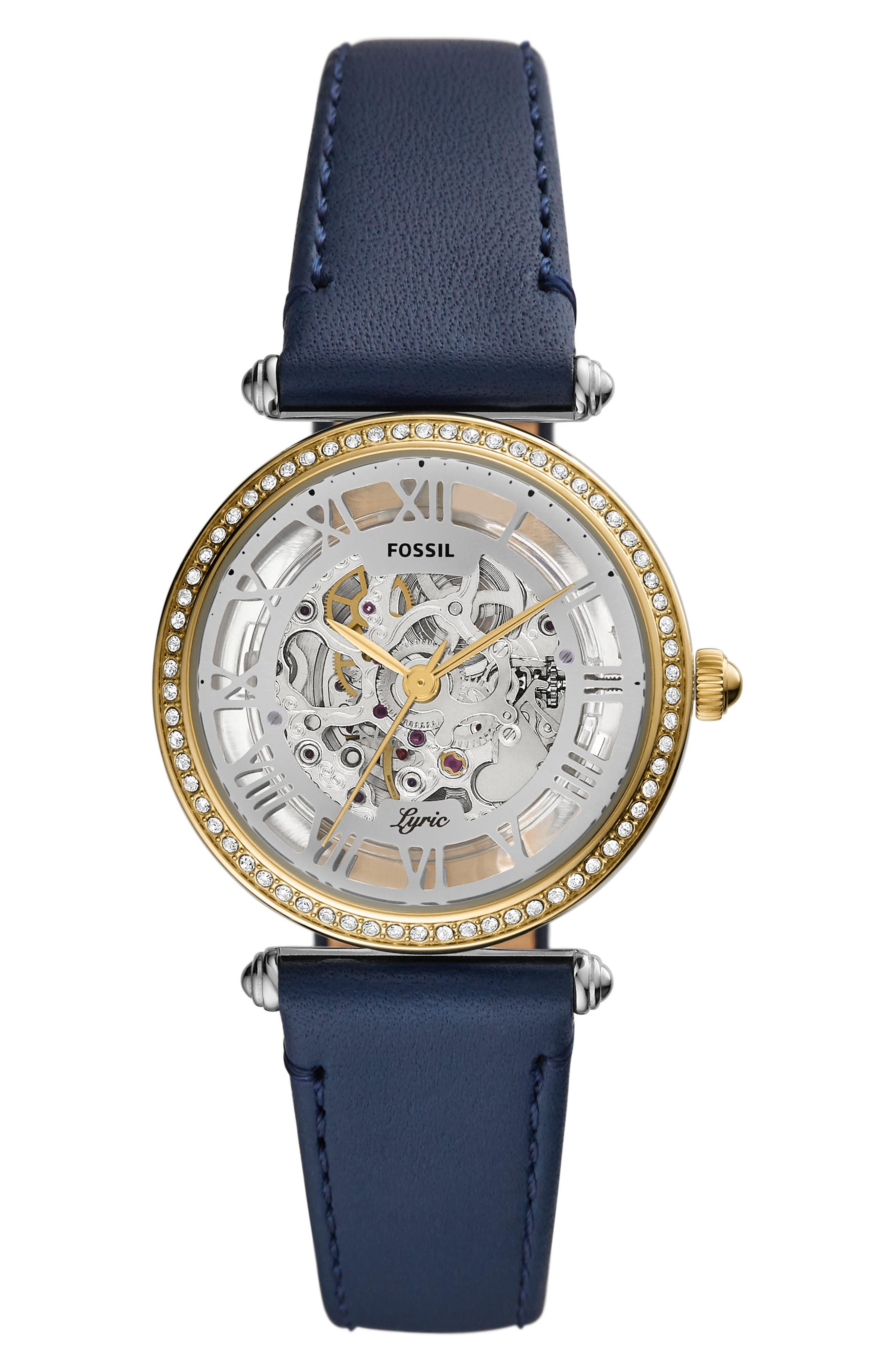 Lyric Automatic Leather Strap Watch