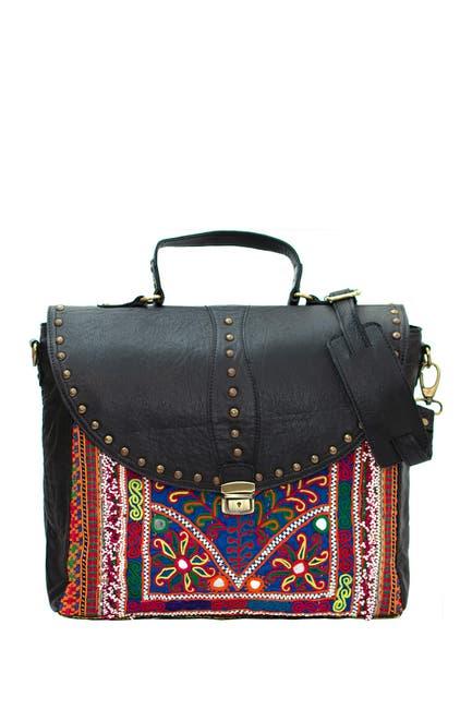 Image of Vintage Addiction Studded Leather & Vintage Fabric Messenger Bag