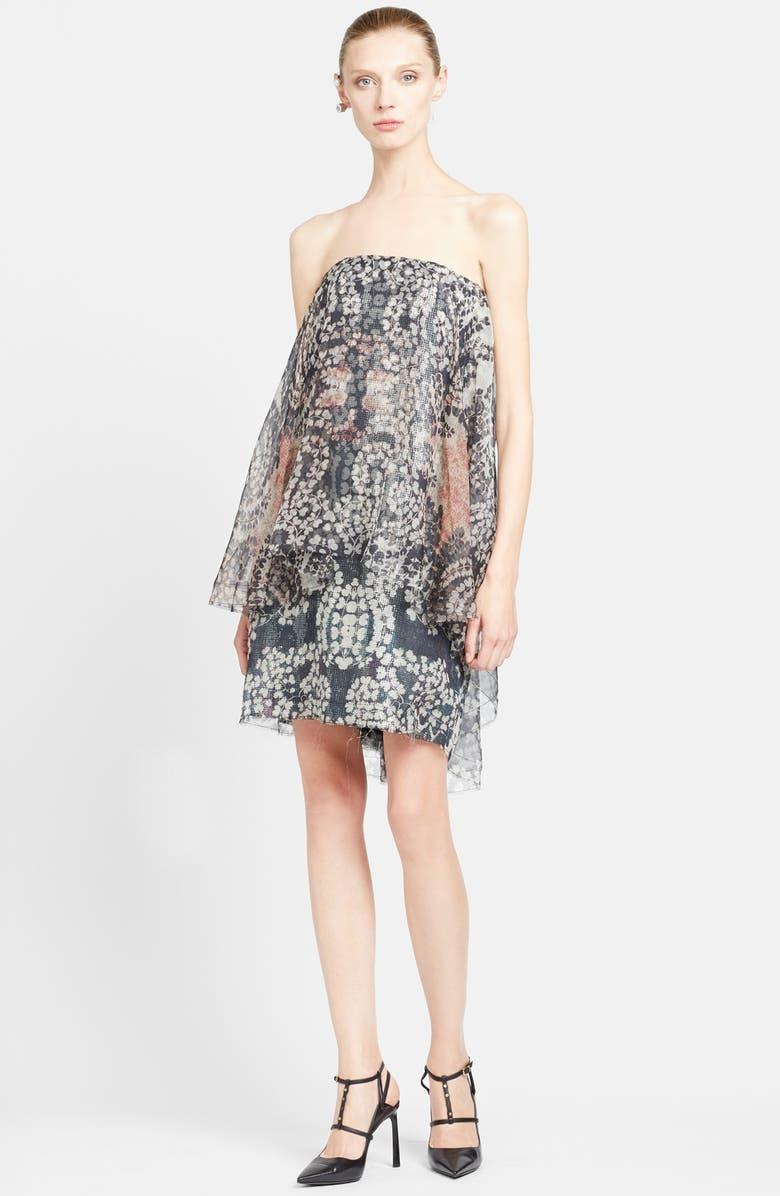 LANVIN Strapless Print Organza Dress, Main, color, 240
