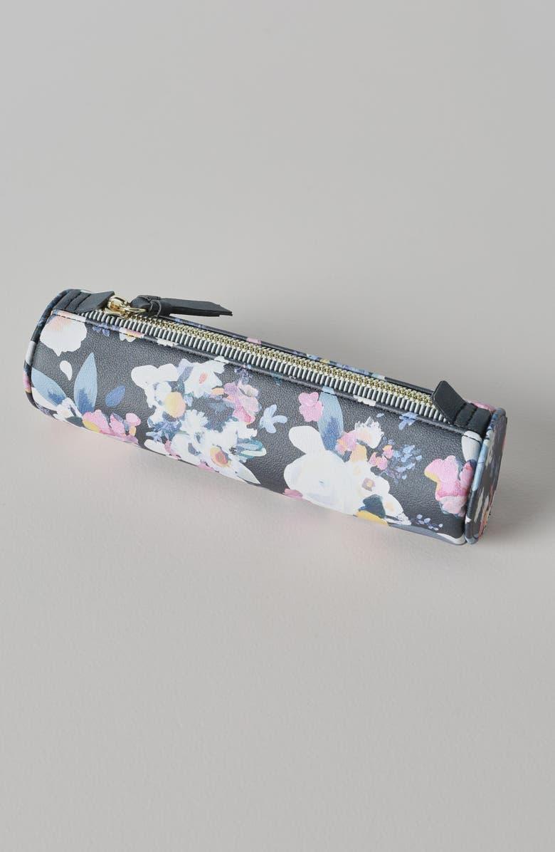 ANTHROPOLOGIE Rosana Floral Pencil Case, Main, color, BLACK