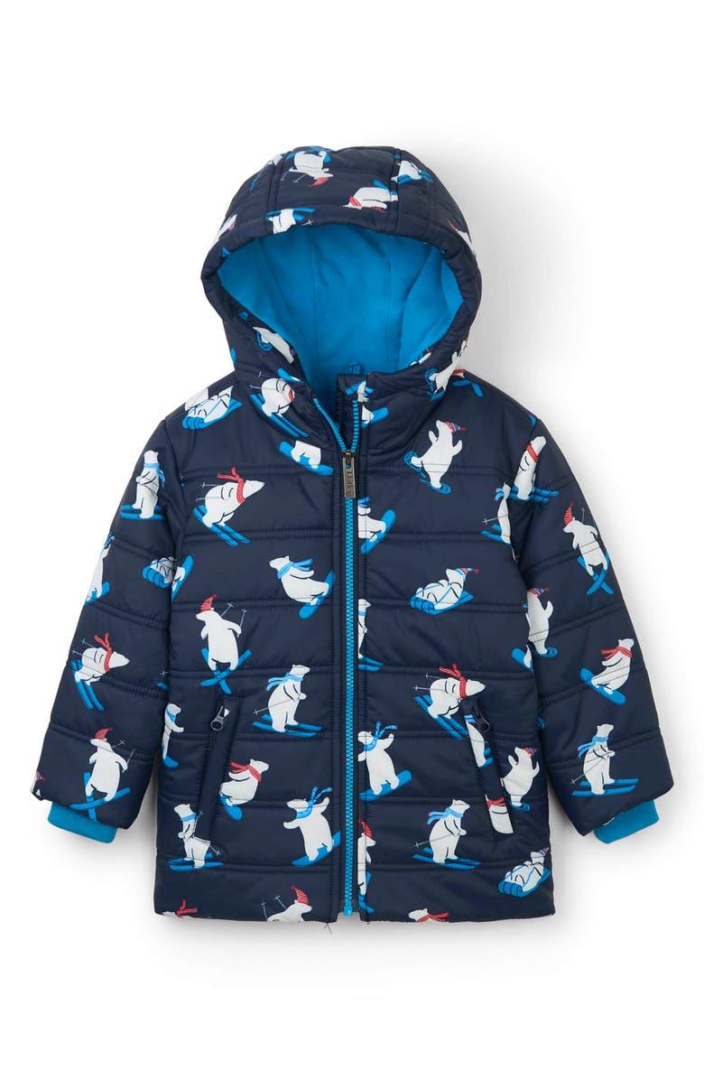 HATLEY Winter Sports Bears Waterproof Hooded Puffer Coat, Main, color, BLUE