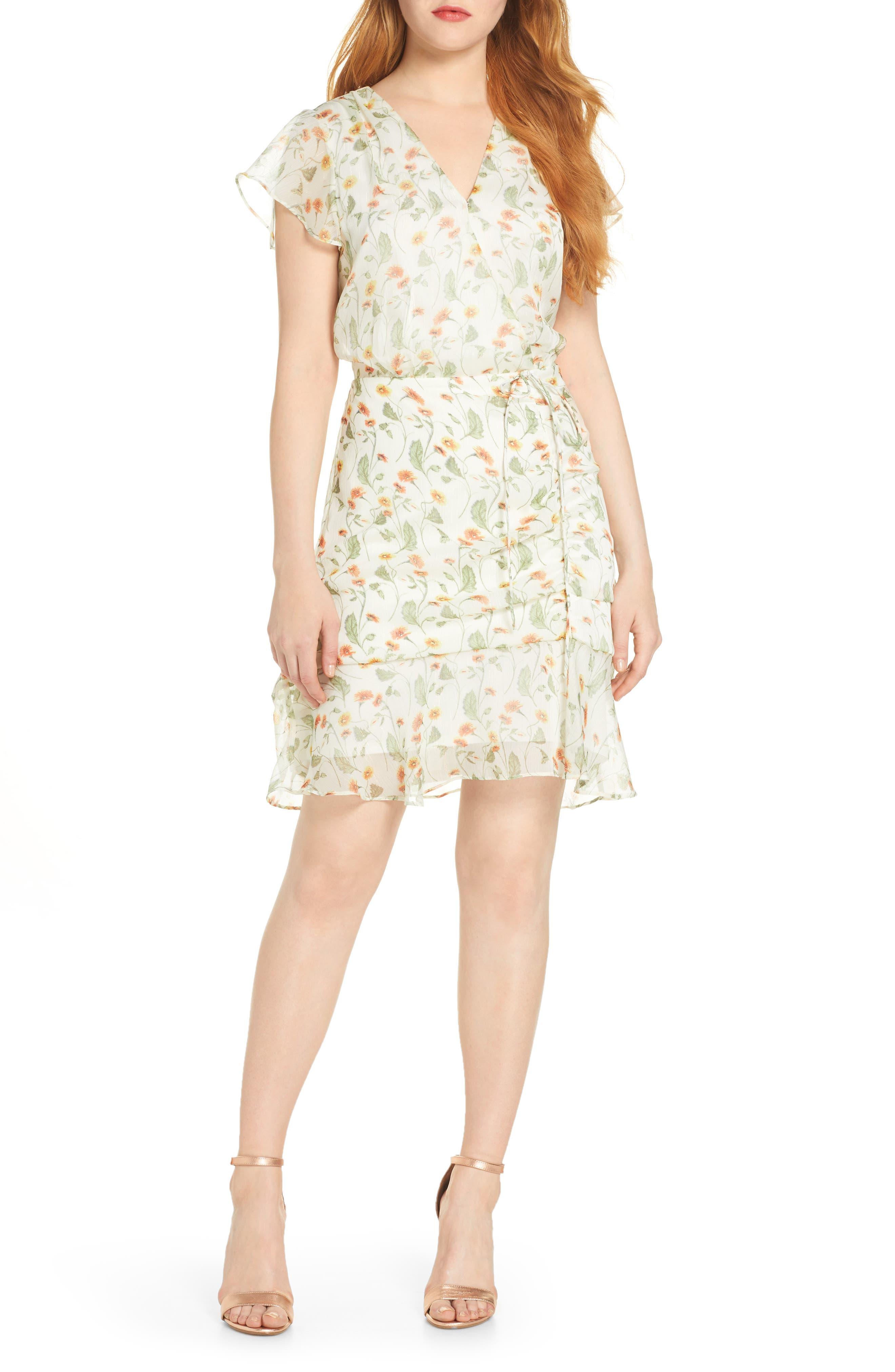 Sam Edelman Floral Tie Waist Dress, Ivory