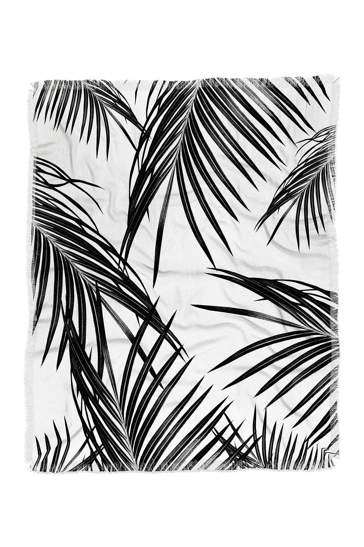 Image of Deny Designs anitabellajantzart Black Palm Leaves Dream 1 Woven Throw Blanket