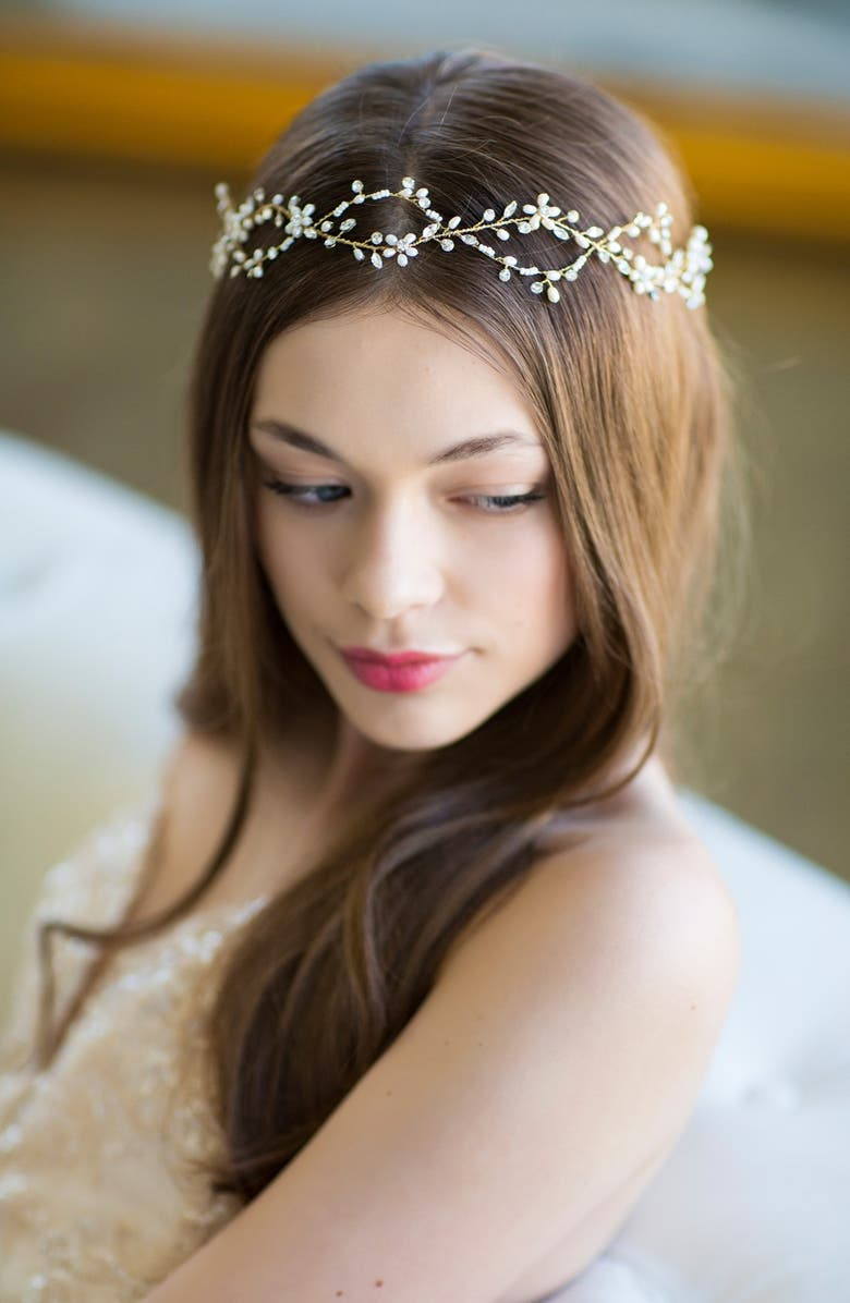 Brides Hairpins Octavia Pearl Jeweled Halo Sash