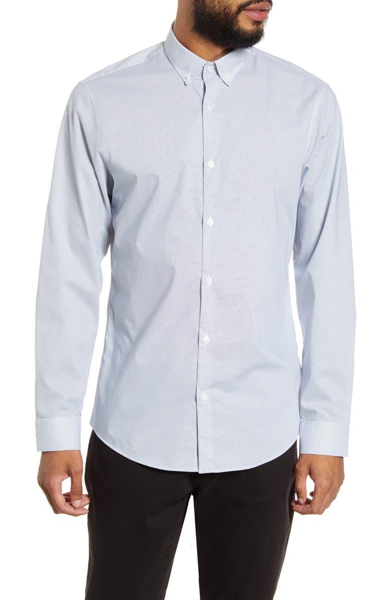 CALIBRATE Trim Fit Button-Down Shirt, Main, color, WHITE NAVY MICRO DOT